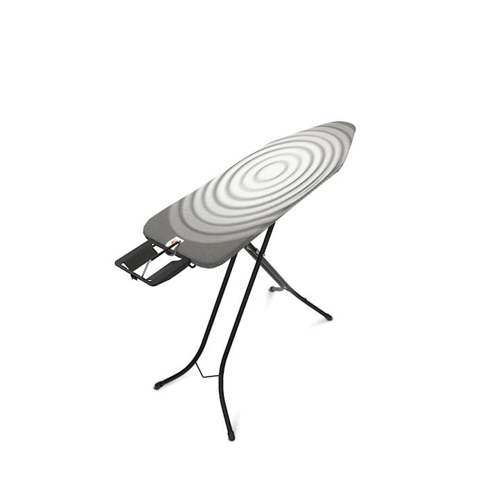 Strygebræt Stl B med Dampstrygejernsholder, sort ramme 22mm 124x38 cm Titan Oval