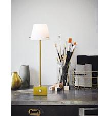 Gil bordlampe LED - Messing, hvit