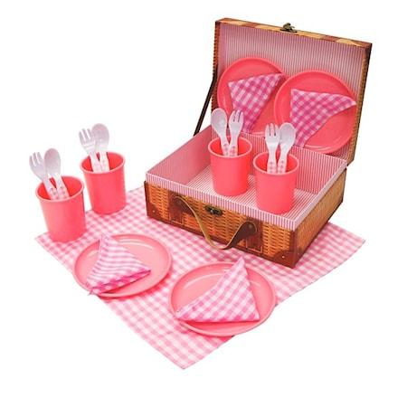 Picknick set i plast, 21 delar, Rosa