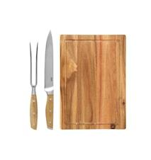 Skärbräda Med Tillhörande Kökskniv- & Gaffel Rostfritt stål Akacieträd