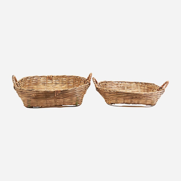Korgar Set med 2 storlekar Bambu h: 18 cm & h: 14 cm