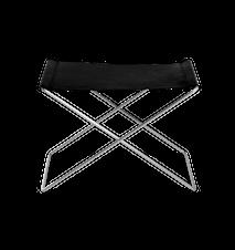 OX Pall Svart Läder & Rostfritt Stål Ben