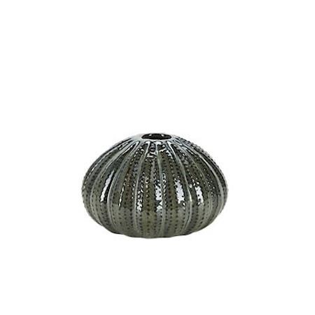 Vase Keramikk Riflet Grønn 11 x 7 cm