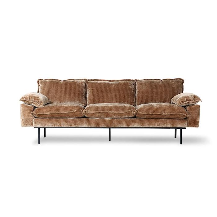 Retro Sofa 3-seter Velvet corduroy aged Gold