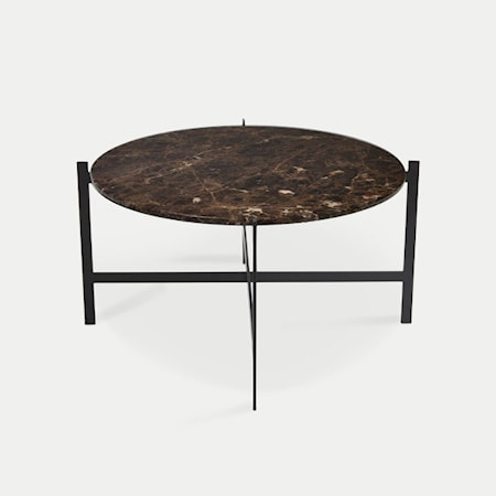 OX DENMARQ Deck table large - brun marmor/svartlackerad stomme