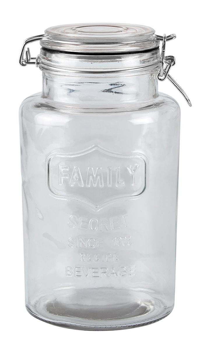 Opbevaringsglas - m. patent låg - Glas - Klar - Sort - D 13,0cm - H 23,5cm - 2,00l - Stk.