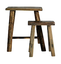 Rough Stool Set of 2 Pine Nature