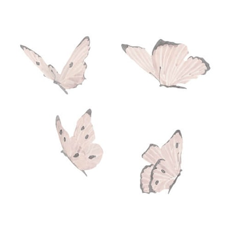 Väggdekoration Butterflies 4-pack White