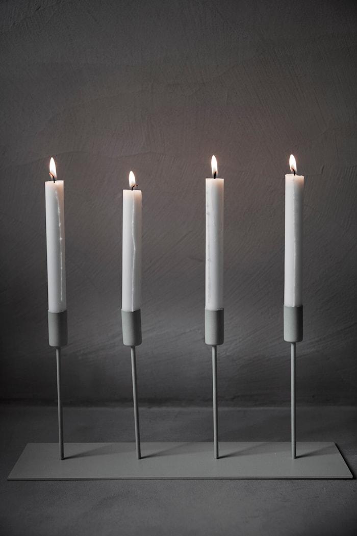 Ljusstake 4 Ljus Beige Metall