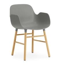 Form Stol med armlene eik - grå