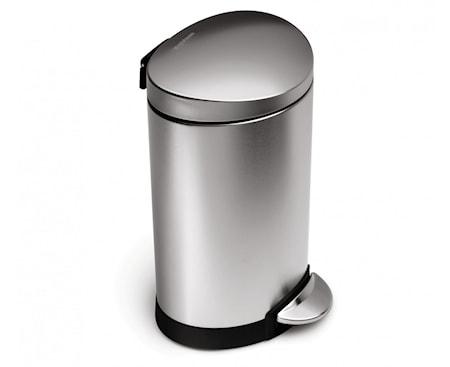 Pedaltunna Semi-Rund 6 liter Borstat Stål