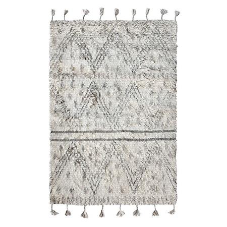 Handvävd Ullmatta Vit/Svart 180x280 cm