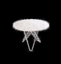 Large O Table Matt Vit Marmor Rostfri Stålram Ø100