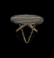 Big O Spisebord Messing/Sort Marmor Ø120 cm