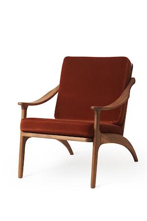 Lean Back Lounge Chair  Brick Red Sammet Teak