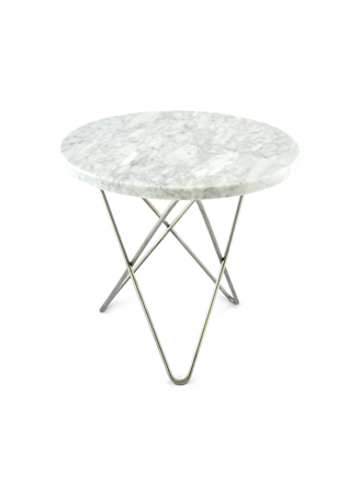 Mini O Table Matt Hvit Marmor med Rustfri Stålramme Ø40