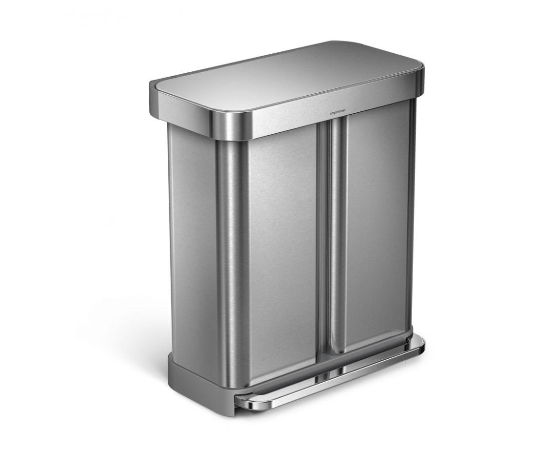 Pedaltunna för sortering med Påsficka 58 liter Borstat Stål