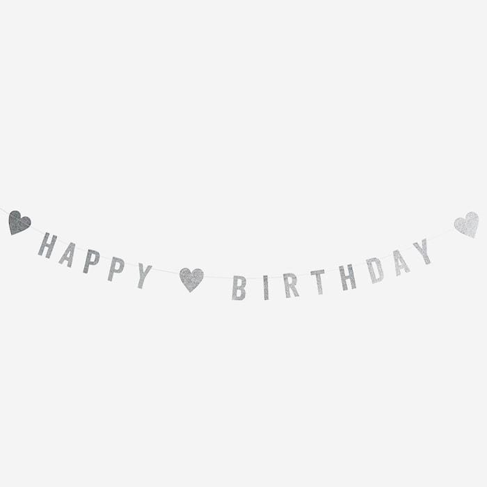 Happy Birthday med glitter girlande