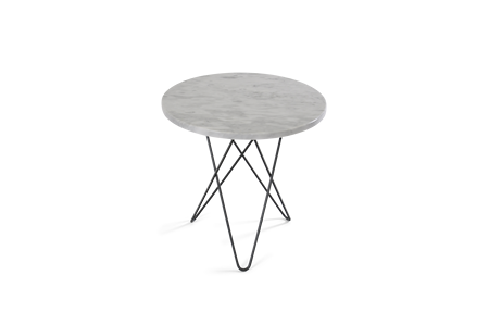 Tall Mini O Table Matt Vit Marmor Svart Ram Ø50
