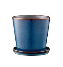 Potteskjuler m/underskål 14 cm Mblå/Sort Bitz