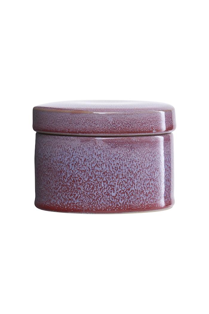 Förvaringsburk Ø 11x8 cm - Bordeaux/ljusblå