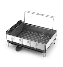 Dish rack Steel frame Brushed steel / gray plastic