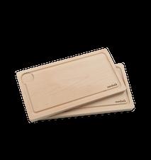 Skærebræt i bøg med rand og underlag 2-pak