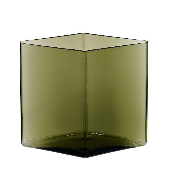 Ruutu vas 20,5x18cm Mossgrön