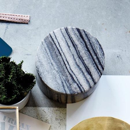 Opbevaringsbeholder Marble Ø 10x6 cm - Grå