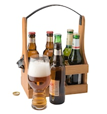Tage Wooden Box 6 bottles wrought handle and opener