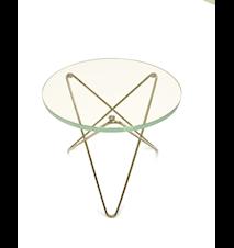 Mini O-table glass sidebord – Green/brass