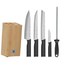 Kineo Messerset mit 4 Messern, 1 Messerblock und 1 Wetzstahl