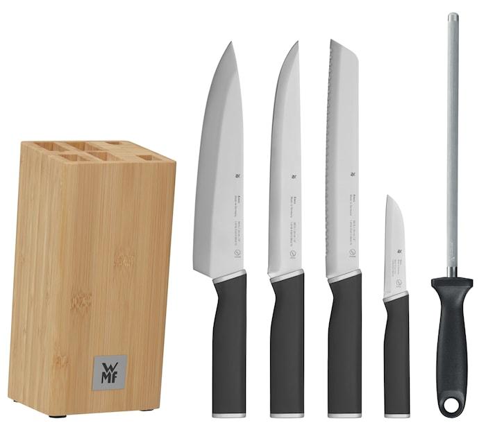 Kineo Knivset med 4 knivar, 1 knivblock och 1 knivstål