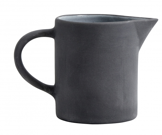 Mjölkkanna Stengods Svart/Vit