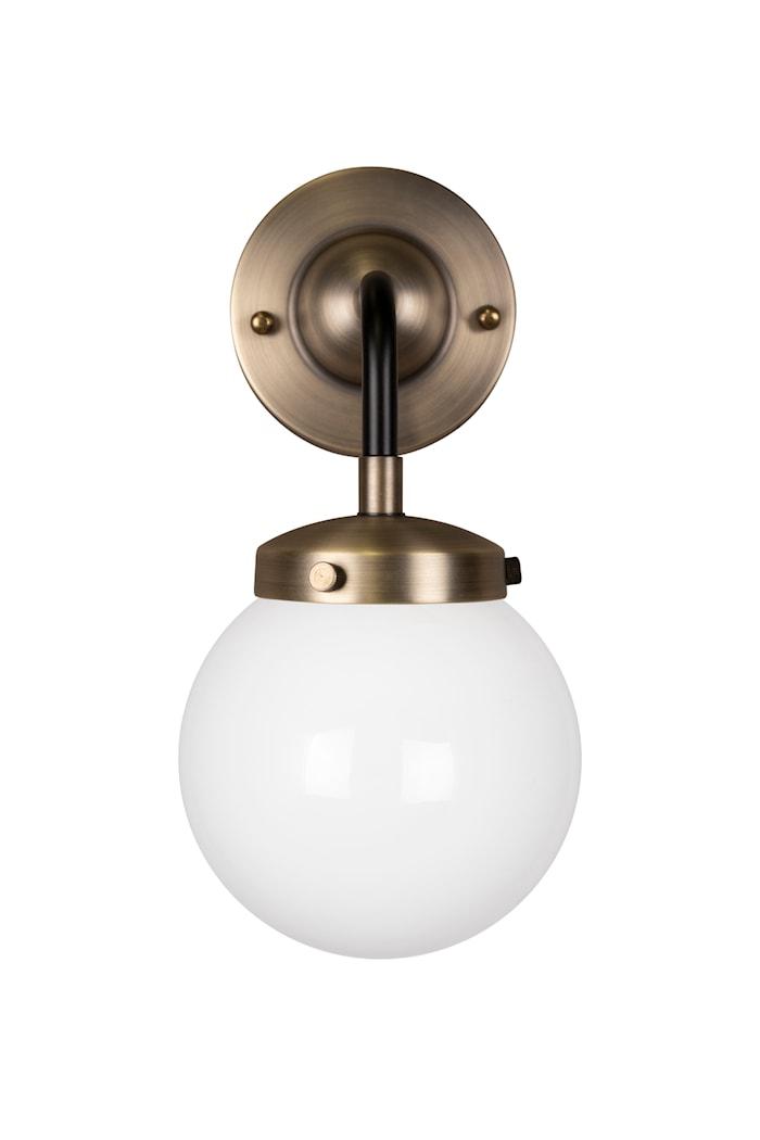 Vägglampa Alley 1 Antikmässing/Vit