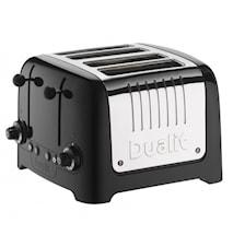 Toaster Lite Metall/Schwarz 4 Scheiben