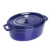 Oval gryta 33 cm blå, 3 lager emalj 6,7 L