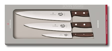 Knivsett med 3 deler med trehåndtak
