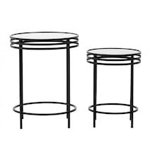 Table d'appoint 2 pièces verre noir