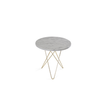 Tall Mini O Table Hvit Marmor med Messingramme Ø50