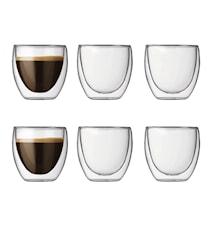 Pavina Dobbeltvegget Espressoglass 8 cl 6 stk