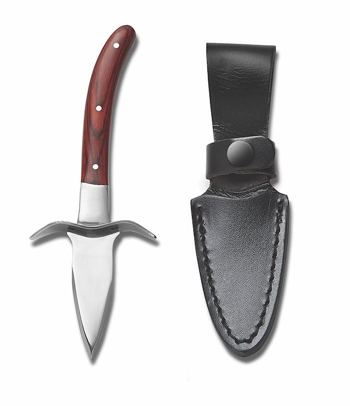Ostronkniv med Läderfodral Rostfritt Stål