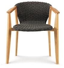 Knit stol med armstöd - Teak