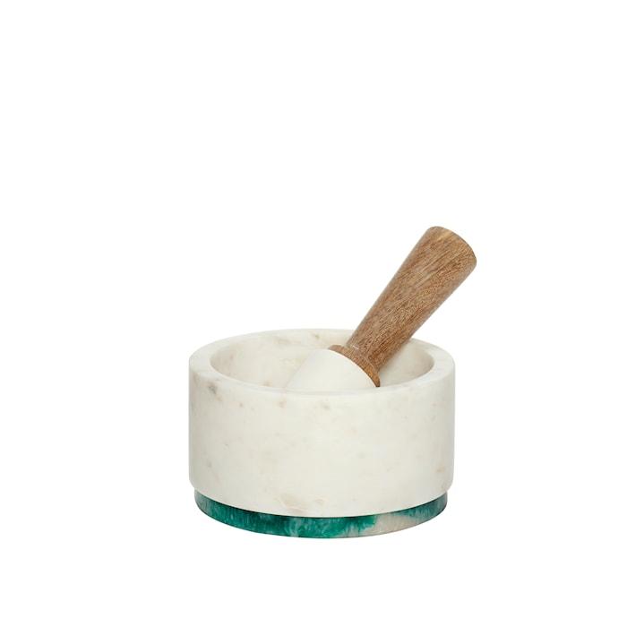 Morter marmor ø14xh8 cm - Hvid/Natur/Grøn