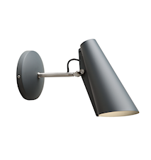 Birdy vägglampa short – Grey/metallic