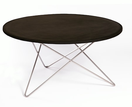 O-table leather soffbord – Black/stainless