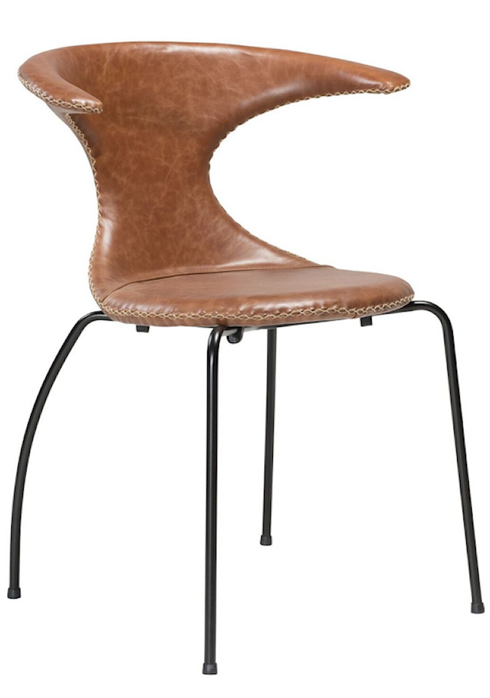 Flair stol – Ljusbrunt läder, svart