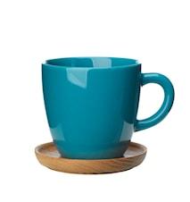Kaffemugg 33 cl med träfat sjögrön blank