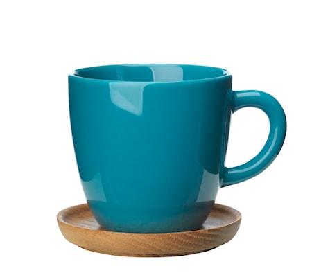 Höganäs Keraaminen kahvikuppi + puualusta 33 cl, Vihreä
