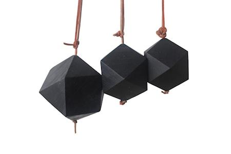 Prydnad Diamant 3 st Återvunnen Teak Svart 8 cm